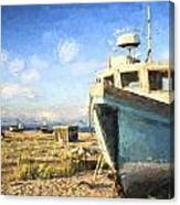 Monet Style Digital Painting Abandoned Fishing Boat On Beach Landscape At Sunset Canvas Print