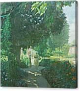 Monets Garden Oil On Board Canvas Print