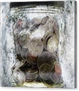 Money Frozen In A Jar Canvas Print