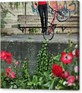 Monika Hinz Doing Elegant Bmx Flatland Trick Canvas Print