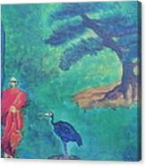 Monk With Bonzai Tree Canvas Print