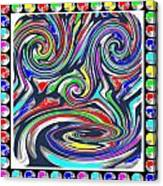 Monkey Dance Created Out Of Beads Of The Border Creative Digital Graphic Work Cartoon Comedy Backgro Canvas Print