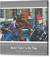 Monkey Sunday In Old Town Canvas Print