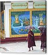Monks In Rain At Shwedagon Paya Temple Yangon Myanmar Canvas Print