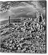 Mono Lake Tufa Rocky Beach Black And White Canvas Print
