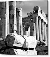 Mono Piles Of Stones Before Ruined Canvas Print