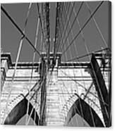 Monochromatic View Of Brooklyn Bridge Canvas Print