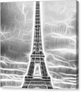 Monochrome Eiffel Tower Fractal Canvas Print