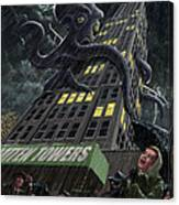 Monster Octopus Attacking Building In Storm Canvas Print