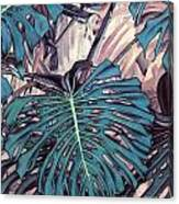 Monstera Blues Canvas Print