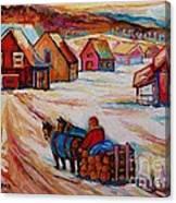 Mont St.hilaire Winter Scene Logger Heading Home To Quebec Village Winter Landscape Carole Spandau Canvas Print