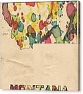Montana Map Vintage Watercolor Canvas Print