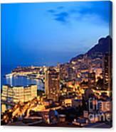 Monte Carlo Cityscape At Night Canvas Print