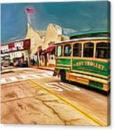 Monterey And Cable Car Bus Canvas Print