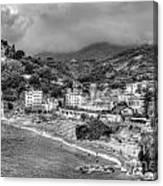 Monterosso Al Mare - Cinque Terre In Grey Canvas Print