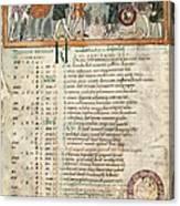 Month Of December, Anglo-saxon Calendar Canvas Print