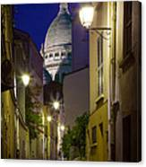 Montmartre Street And Sacre Coeur Canvas Print