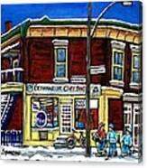 Montreal Art Hockey Paintings Chez Bert Depanneur The Pointe Verdun City Scene Carole Spandau  Canvas Print