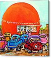 Montreal Art Orange Julep Paintings Montreal Summer City Scenes Carole Spandau Canvas Print