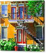 Montreal Art Seeing Red Verdun Wooden Doors And Fire Hydrant Triplex City Scene Carole Spandau Canvas Print