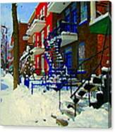 Montreal Art Streets Of Verdun Winter Scenes Winding Staircases Snowscenes Carole Spandau Canvas Print