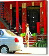 Montreal Art Summer Stroll On A Sunny Morning Colorful Street Verdun City Scene Carole Spandau Canvas Print