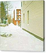 Montreal Art Urban Winter City Scene Painting Verdun Laneway After  Heavy December Snowfall Canvas Print