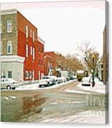 Montreal Art Winter Street Scene Painting The Point Psc Rowhouses In January Snow Cspandau Canvas Print