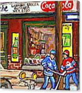 Montreal Hockey Paintings At The Corner Depanneur - Piche's Grocery Goosevillage Psc Griffintown  Canvas Print