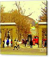 Montreal Memories Mcgill Students On Campus Roddick Gates Montreal Collectible Art Prints C Spandau Canvas Print