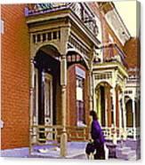 Montreal Memories Pretty Plateau Porches Lady Climbs Front Steps By Bricks Balconies Home Cspandau   Canvas Print