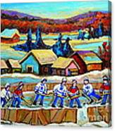 Montreal Memories Rink Hockey In The Country Hockey Our National Pastime Carole Spandau Paintings Canvas Print