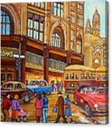 Montreal Memories-streetcars-morgan's Department Store At St.catherine And Union Canvas Print