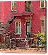 Montreal Memories The Old Neighborhood Timeless Triplex With Spiral Staircase City Scene C Spandau  Canvas Print