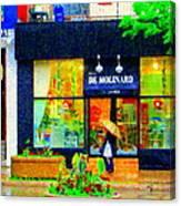 Montreal Rainy Day  Window Shopping Girl With Paisley Umbrella Spa Molinard Laurier  Carole Spandau Canvas Print
