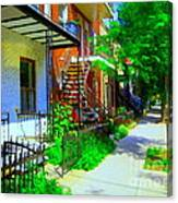 Montreal Stairs Shady Streets Winding Staircases In Balconville Art Of Verdun Scenes Carole Spandau Canvas Print
