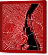 Montreal Street Map - Montreal Canada Road Map Art On Color Canvas Print