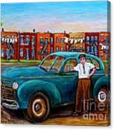 Montreal Taxi Driver 1940 Cab Vintage Car Montreal Memories Row Houses City Scenes Carole Spandau Canvas Print