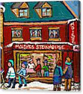 Montreal Winter Hockey At Moishes Canvas Print