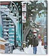 Montreal Winter Scene Mile End Canvas Print