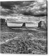 Monument Valley Black And Withe Canvas Print