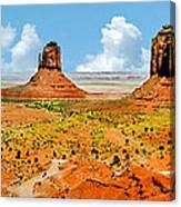 Monument Valley In Spring Panoramic Painting Canvas Print