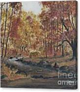 Moody Woods In Fall Canvas Print