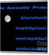 Moon - Serenity Prayer - Blue Canvas Print
