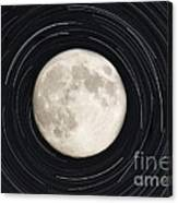 Moon And Startrails Canvas Print
