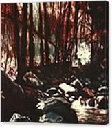 Moon Light Near The Cascades Canvas Print