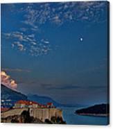 Moon Over Dubrovnik's Walls Canvas Print