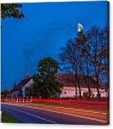 Moon Over E77 Road In Warmia Region In Poland Canvas Print
