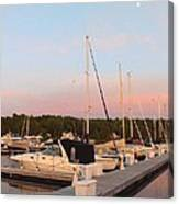 Moon Over Egg Harbor Marina Canvas Print
