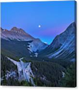 Moon Over Icefields Parkway Canvas Print